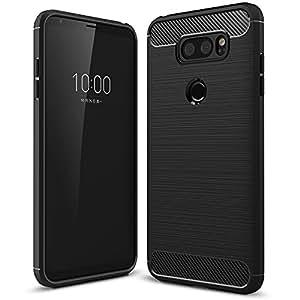 LG V30 case, TopACE Ultra Slim Thin Carbon Fiber Scratch Resistant Shock Absorption Soft TPU Protective Cover for LG V30 (2017)-Black