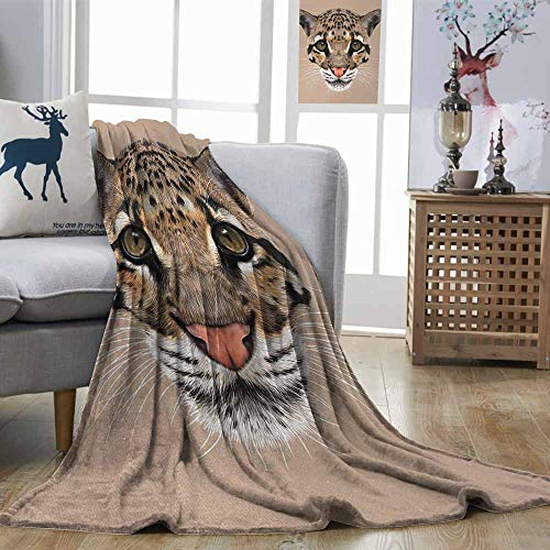 (Zmstroy Blanket Sheets Animal Cute Baby Leopard Portrait Wildlife African Tropical Feline Illustration Umber Cocoa Brown Blanket Comfort Microfiber W60 xL80)