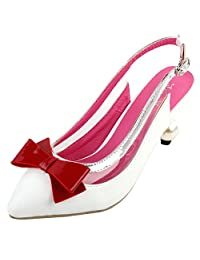 Show Story Elegant Slingback Bow Pointed Toe Exquisite Pearl Heel Dress Pump,LF60402