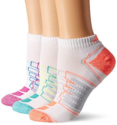 New Balance Performance Low Cut Socks (3 Pack), White/Teal/Pink/Orange, Women's 6-10