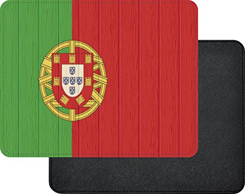 Lisbon Leather - Rikki Knight Portugal Flag on Distressed Wood Premium Quality Faux Leather Mouse Pad