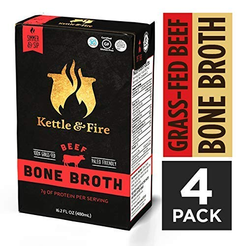 Beef Bone Broth Soup by Kettle and Fire, Pack of 4, Keto Diet, Paleo Friendly, Whole 30 Approved, Gluten Free, with Collagen, 6g of protein, 16.2 fl oz