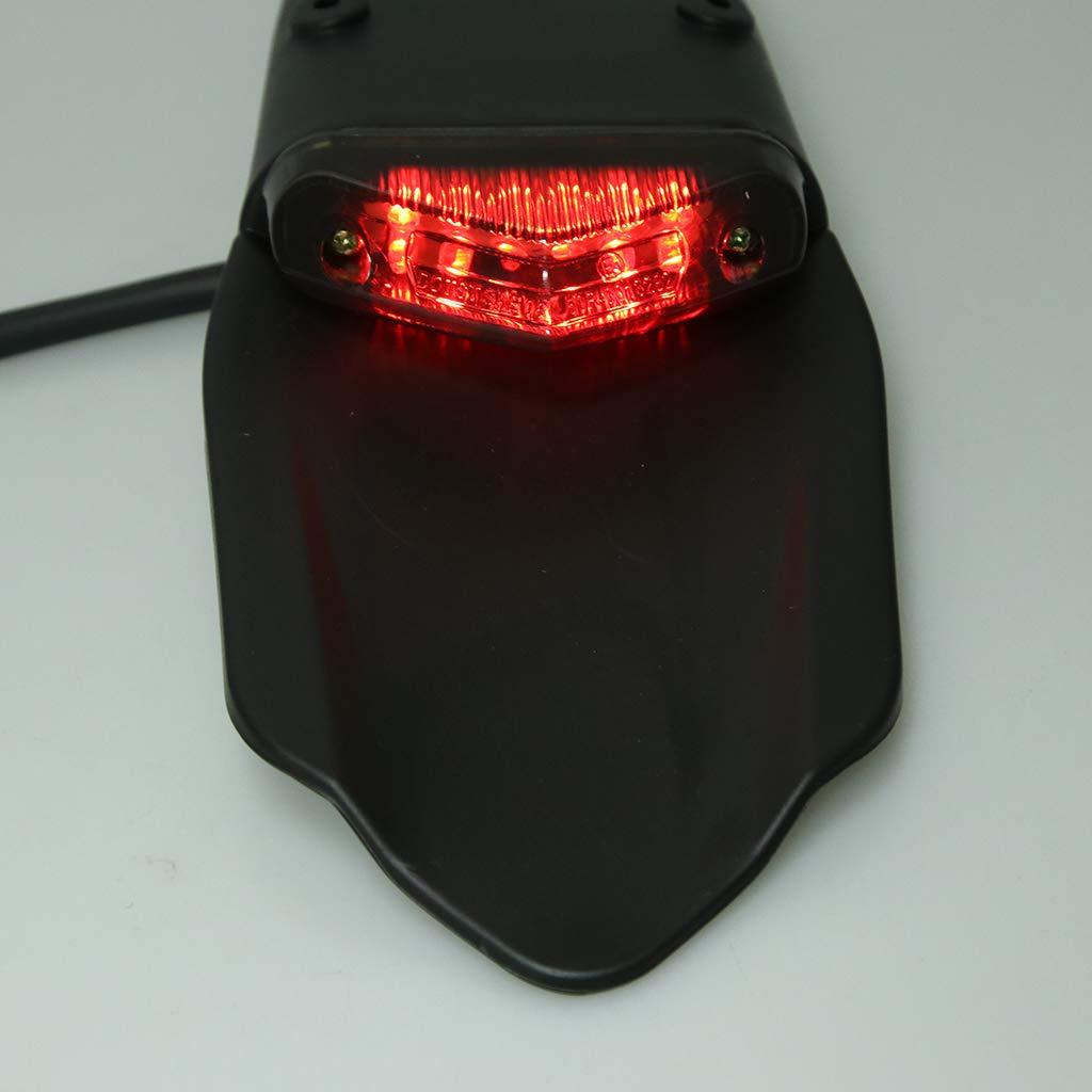 D DOLITY Motorcycle Rear Fender Brake Tail Light Fit for Honda CR125 Motocross Dirt Bike Red Lens