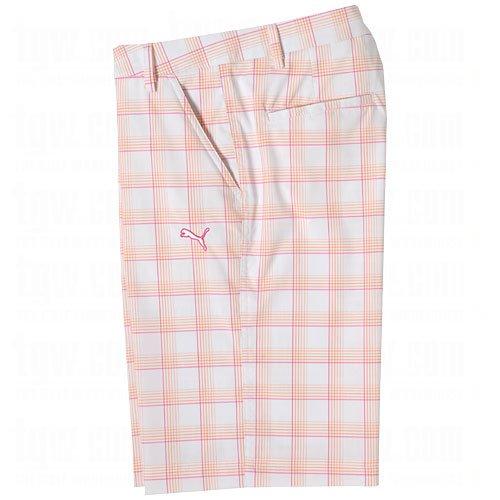 Puma Golf NA Boy's Plaid Tech Shorts, White/Vibrant Orange/Cabaret, Large