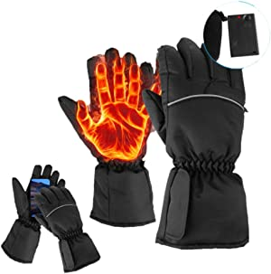 Agorahut Heated Gloves Rechargeable Winter Gloves | Waterproof | Hunting Gloves, Work, Ski Gloves, Snowmobile, Motorcycle Riding Gloves, Raynaud's Gloves | Unisex, Men & Womens Heated Gloves
