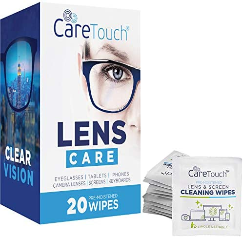 Care Touch Pre-Moistened Lens Cleaning Cloths | 20 Individually Wrapped Wipes | Great for Eyeglasses, Tablets, Lenses, and Other Delicate Surfaces