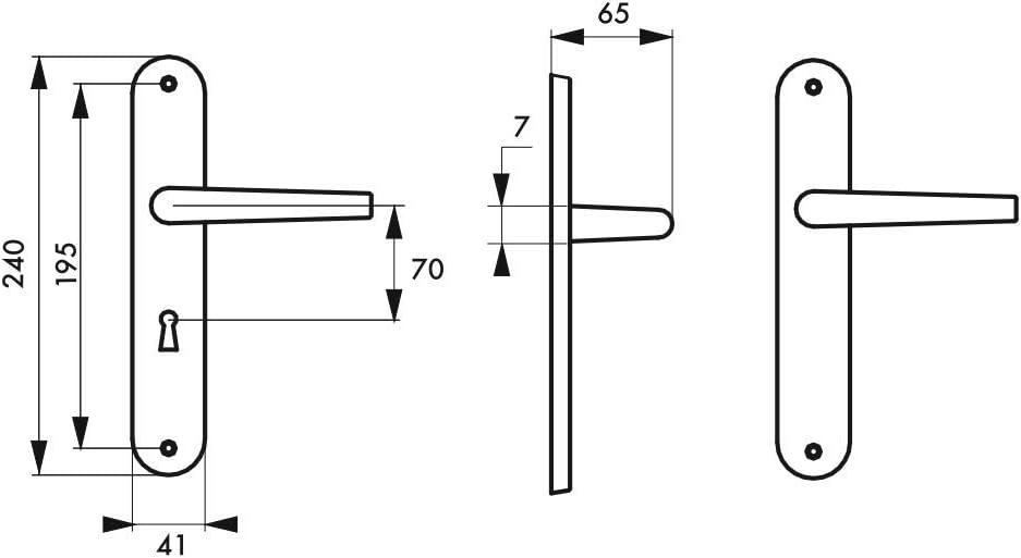 Poign/ée de porte Vesta trou de cl/é entraxes 195 mm pour porte dint/érieur Thirard