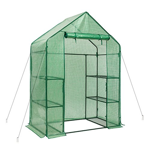 DOEWORKS Portable Walk-in Plant Greenhouse with PE Cover, 3 Tier 6 Shelf Garden House for Outdoor, 54.3''x 27.5''x 77.2'' by DOEWORKS