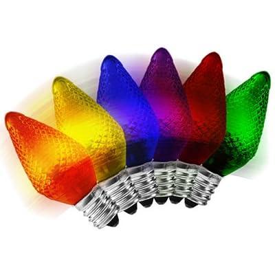 C7 LED - Color Christmas Changing - Faceted Finish - Candelabra Base - Christmas Lights - 25 Pack