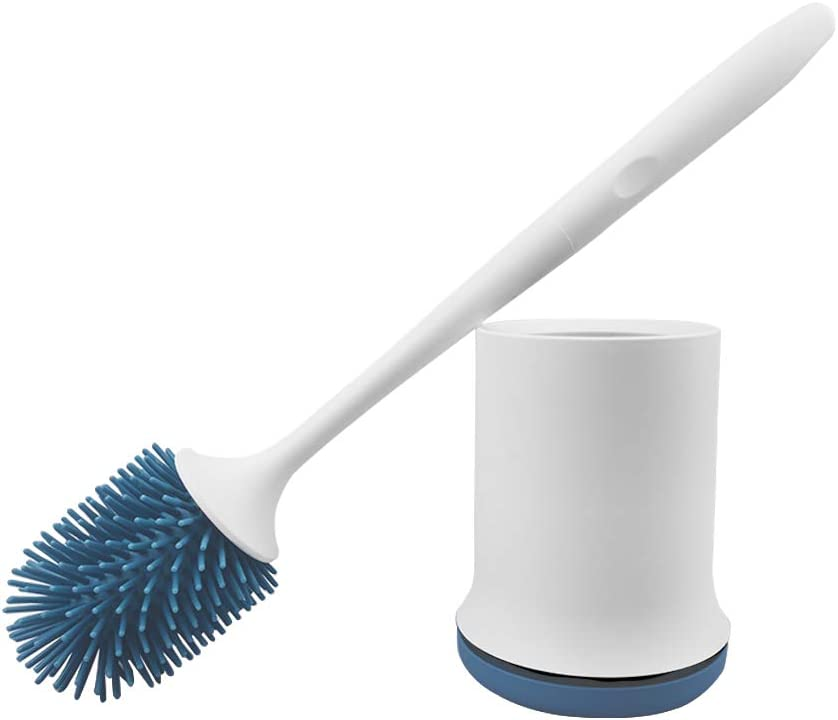 bretoes Toilet Brush Bathroom Cleaning Brush Blue Compact Toilet Brush Set for Small Spaces