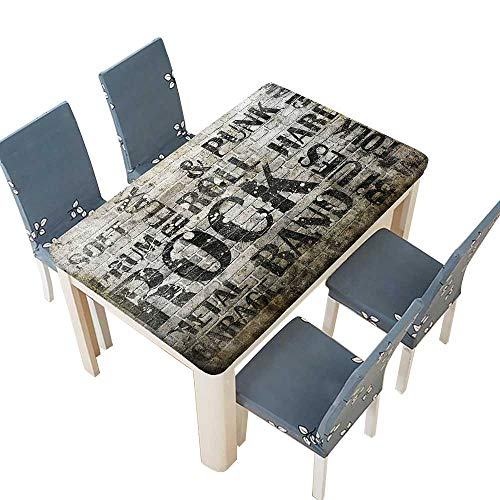 PINAFORE Table in Washable Polyeste Wall with Punk Jazz Rock Metal Garage Soft Blues Folk Banquet Wedding Party Restaurant Tablecloth W25.5 x L65 INCH (Elastic Edge) ()