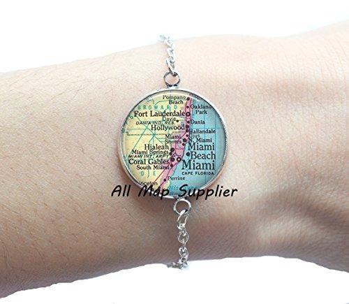 Charming Bracelet,Miami map Bracelets, Miami Bracelets, Ft Lauderdale, Miami Beach, Hialeah, Coral Gables, Miami map - Gables Stores Coral