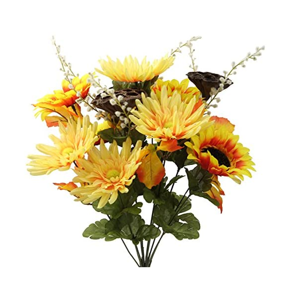 Admired By Nature GPB6409-SALMON Mix 14 Stems Artificial Sunflower, Gerbera Daisy and Lotus Root Mixed Flowers Bush for Home Office, Wedding, Restaurant Decoration Arrangement, Salmon Mix