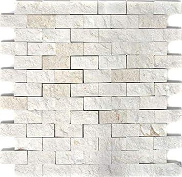 Azulejos de mosaico, piedra natural blanca, para pared, baño, cocina, espejo, revestimiento de mosaico, revestimiento de paredes de baño: Amazon.es: Bricolaje y herramientas