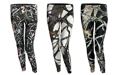 (Southern Designs Huntress Camouflage Leggings 3 Pack - Marsh - White - Black Camo (Small))