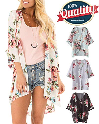 Top Floral Kimono (Women's 3/4 Sleeve Floral Kimono Cardigan, Sheer Loose Shawl Capes, Chiffon Beach Cover-Up, Casual Blouse Tops (L-White, XX-Large))