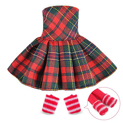 E-TING Santa Couture Clothing for elf (Red-Green Plaid Dress) Doll is not Included