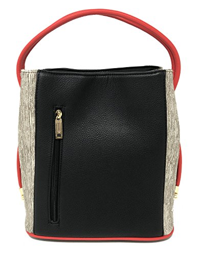 Samoe Style Black and Red with Zebra Print Classic Convertible Handbag