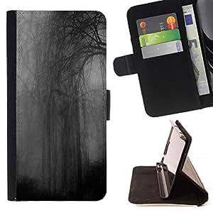 GREY DARK SOMBER FOREST NIGHT RAINY/ Personalizada del estilo del dise???¡Ào de la PU Caso de encargo del cuero del tir????n del soporte d - Cao - For Samsung Galaxy Note 3 III