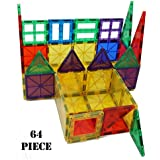 Yarrdee Magnetic Building Tiles - 64 Pieces Total, Includes 1 Cart - 100% Compatible With Other Brands