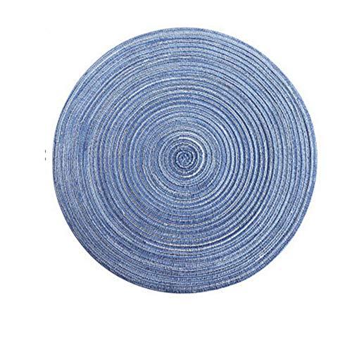MYKK Manteles Individuales Round Tejido Placemats Crochet Doily Resistente Al Calor Cocina Antideslizante Mesa Estera Soporte para Tazas 36cm Azul