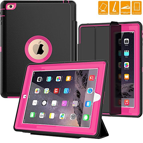 iPad 2/3/ 4 Case with smart cover, SEYMAC Three Layer Drop Protection Rugged Protective Heavy Duty iPad Case with Magnetic Smart Auto Wake/Sleep Cover for iPad 2/3/4 (Black/Rose) by SEYMAC