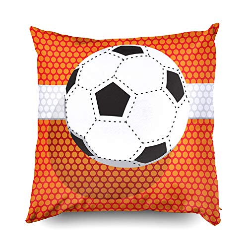 Football 18x18 Pillow Cases,Cusion Pillow Cover,TOMWISH Zippered Decorative Throw Cotton Pillow Case Cushion Cover for Home Decor football wallpaper area artificial backdrop background ball black cent