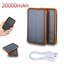 FUSHITON Dual USB Port Portable Solar Charger 20000mAh High Capacity Solar Power Bank High-Speed Charging LED Lamp 5V Waterproof External Battery Portable Charger For iPhone Android Samsung Tablet PC And USB Devices