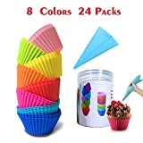 Lasten Silicone Cupcake Liners with Pastry Bag and