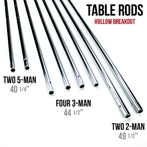 Set of 8 Quality Replacement 5/8 Inch Standard Hollow Foosball Rods - Includes Bonus Foosball Player! by CSG