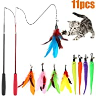 Cat Feather Toy, Retractable Cat Toys Wand 2 Wands & 9 Assorted Teaser Refills, Interactive Feather Teaser Wand Toy Bell Kitten Cat Having Fun Exerciser Playing