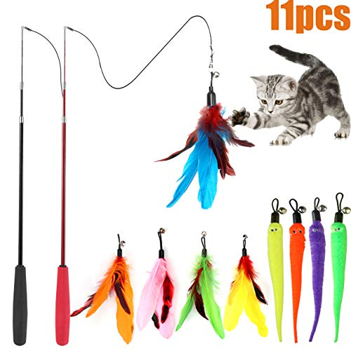9 Perfect Pole - Cat Feather Toy, Retractable Cat Toys Wand 2 Wands & 9 Assorted Teaser Refills, Interactive Feather Teaser Wand Toy Bell Kitten Cat Having Fun Exerciser Playing