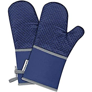 L.A. Sweet Home 14 Inch Extra Long Silicone Oven Mitts Solid Printed Pattern Heat Resistant Potholders Cooking Gloves Non-Slip Barbecue Gloves