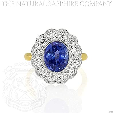 124209323 3.26ct Natural Untreated Blue Sapphire and Diamond Engagement Ring. Dia:  0.96ct.