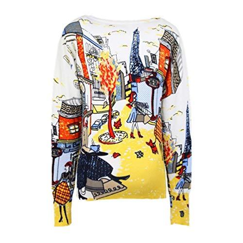 Chic Button Impression Fashion Printemps Casual Veste Femme Bolawoo Elégante Jacket Confortables Automne Manches Tricoter En Longues Tricot Jaune Mode PHqRw