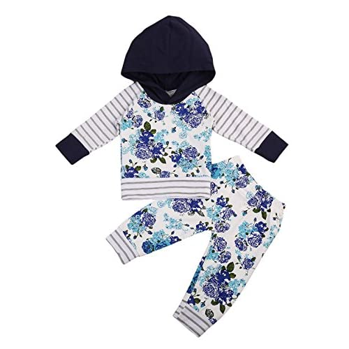 Urkutoba Baby Girls Floral Hoodie Active Outfits 2PCS Long Sleeve Hooded Sweatshirt Tops Long Pants Outdoor Active Playsuit
