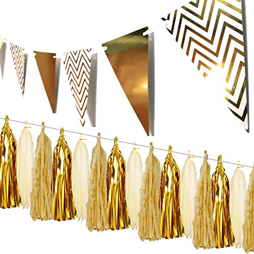 Aduck Gold Party Decorations Sparkly Paper Pennant Banner Triangle Flags 8.2ft and Tissue Paper Tassels Garland, Great Party Decorations for Baby Shower Birthday Graduations Wedding Ideal Bachelorette Christmas, New Years Eve, Thanks Giving Day, Pack of 16 -