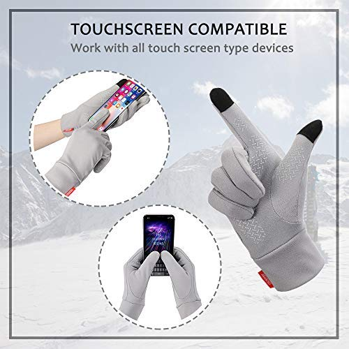 Aegend Running Gloves Touch Screen Lightweight Warm Gloves Mittens Liners, Gray, Small