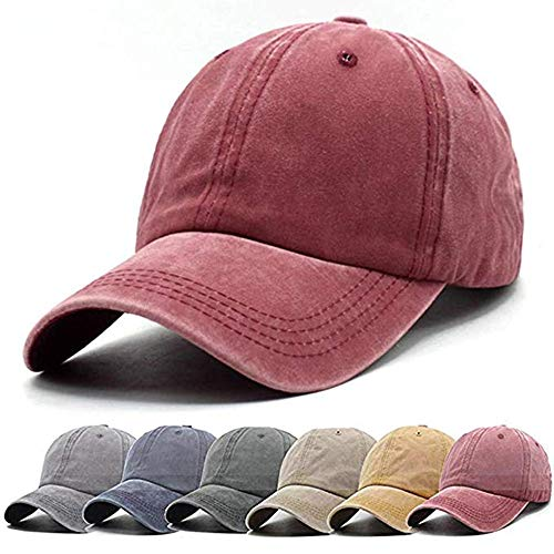(Aedvoouer Unisex Washed Twill Cotton Baseball Cap Vintage Distressed Plain Adjustable Dad Hat (Burgundy) )