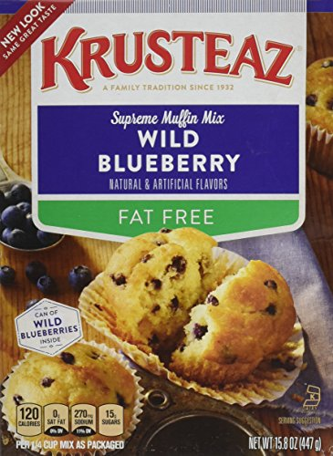 Krusteaz Wild Blueberry Supreme Muffin Mix Fat Free, 15.8oz - Free Blueberry Muffin