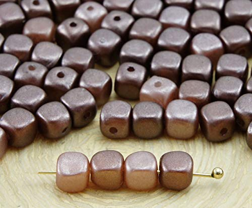 Brown Pearl Imitation (60pcs Chocolate Brown Pearl Imitation Small Cube Square Rounded Edge Spacer Czech Glass Beads 5mm x 4mm)