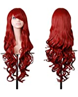 """Hmxpls 32"""" 80cm Spiral Curly Cosplay Costume Wig Red"""