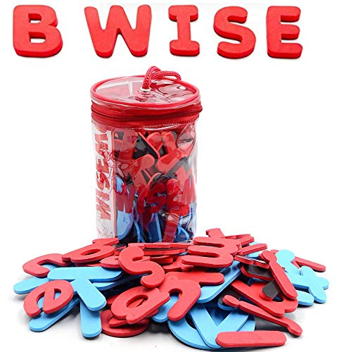 WISEMU Magnetic Letters - Best Alphabet Magnets: Upper and Lower case. 57 Large, Flexible, Non-Toxic Soft Foam ABC Magnets for Kids in a PVC Pencil case. to use on a Board, Refrigerator and Outdoors
