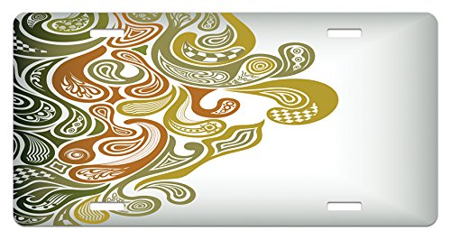 Plate by Ambesonne, Classical Scroll Pattern with a Modern Approach Swirled Leaf Figures, High Gloss Aluminum Novelty Plate, 5.88 L X 11.88 W Inches, Khaki Green Cinnamon (Earth Scroll)