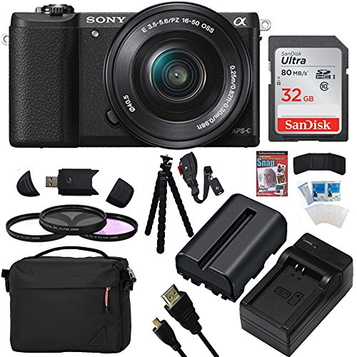 Sony Alpha a5100 24.3MP HD 1080p Mirrorless Digital Camera with 16-50mm Lens (Black Essential Kit)