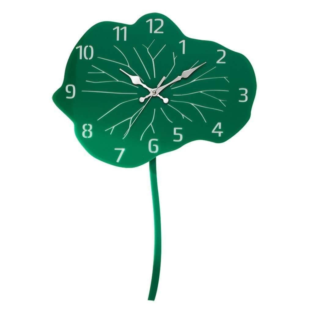 独創 家の装飾のために適した壁時計のはすの葉の形の中国式の無言の時計、   B07R6LXBCL