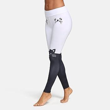 Deportivas Impresión de Gato Mujer Pantalones Yoga Mujeres Fitness Mujer Leggins Polainas Pantalon Yoga PantalóN Gimnasio Pilates Fitness Mujer EláSticos Para Running Pilates Fitness (M, Blanco): Amazon.es: Ropa y accesorios