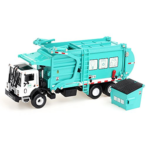 duturpo 1/43 Scale Diecast Collectible Waste Management Truck with Trash Bin, Metal Recycling Garbage Truck Toys for Kids (Green) ()
