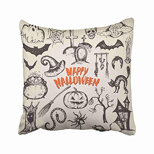 (Ashasds Sketch Halloween Characters with Witch Hat Cauldron Black Cat Bat Pumpkin Candle Spider House Moon Throw Pillow Covers for Home Indoor Comfortable Cushion Standard Size 26x26 in)