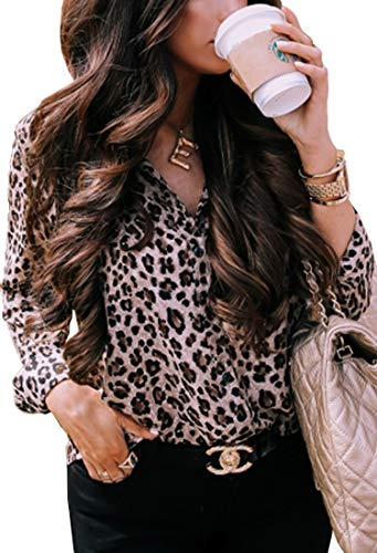 Leopard-Print Long Sleeve Shirt Top